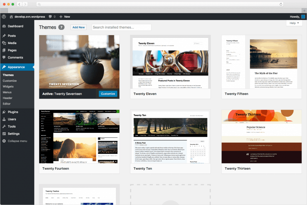 Wordpress Interface