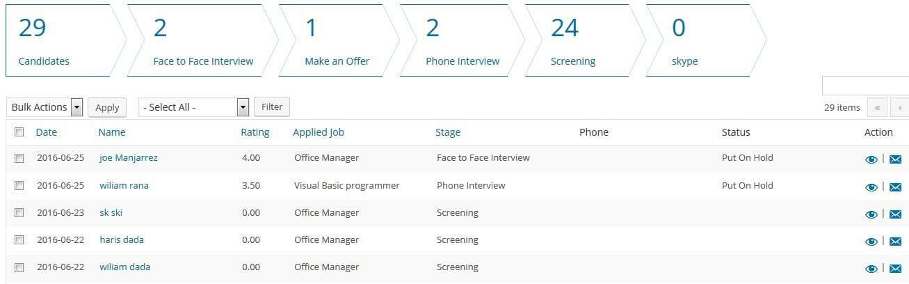 Manage all your applicants from one place