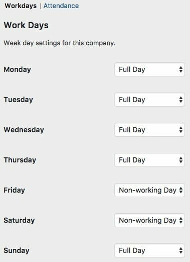 Set up your company's workdays