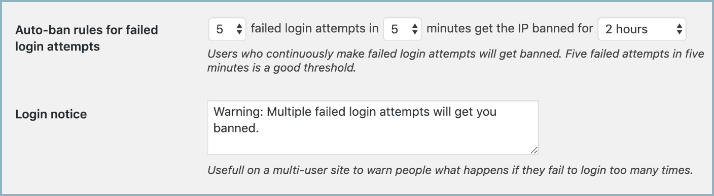 Block multiple failed login attempts