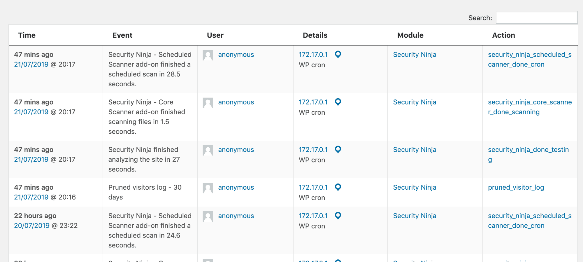 Picture of example events log from Security Ninja