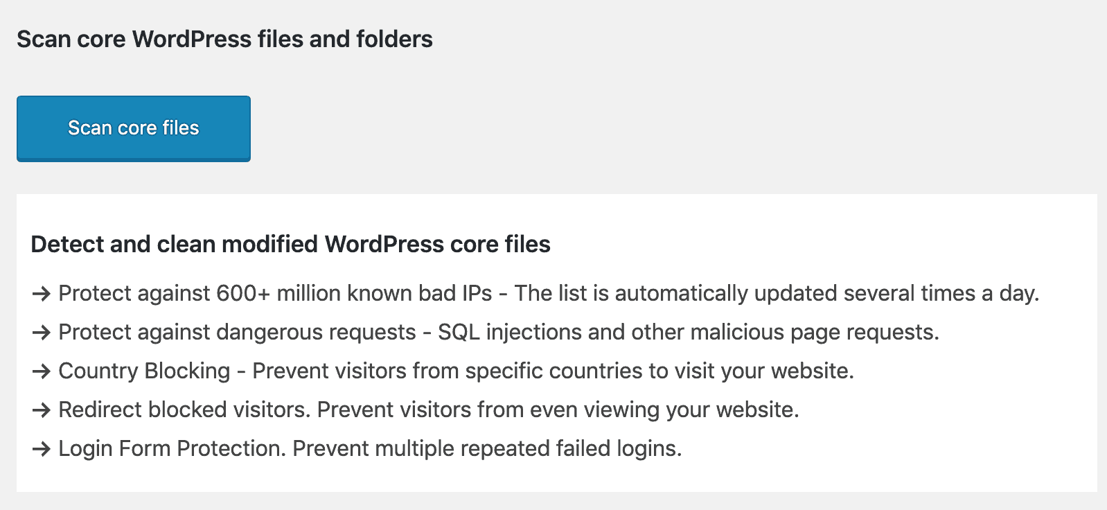 Scan Core files button - Scan WordPress files