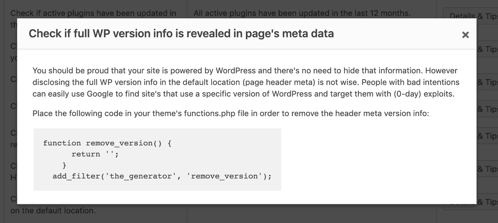 Check if full WordPress version info is revealed in page's meta data